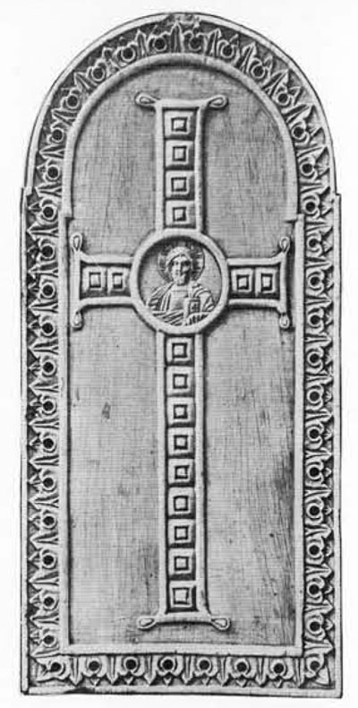 Wing of an ivory diptych of the tenth century in the Gotha Museum showing how the Museum cameo would have appeared if used as the central medallion in a cross on a book cover.