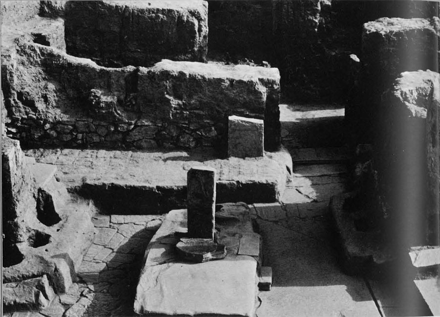 Part of the 9th century level at Hasanlu showing the main entrance of Burned Building II. the lion bowl was found in the room just beyond the doorway in the upper right of the picture.