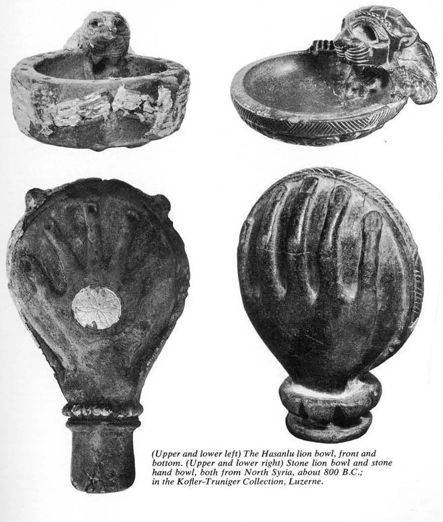 (Upper and Lower Left) the Hassanlu lion bowl, front and bottom. (Upper and lower right) Stone lion bowl and stone hand bowl, both from North Syria, about 800 B.C.; in the Kofler-Truniger Collection, Luzerne.