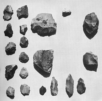 A typical collection of mixed flints, mostly projectile points and scraper s associated on the surface with Late Roman pottery.