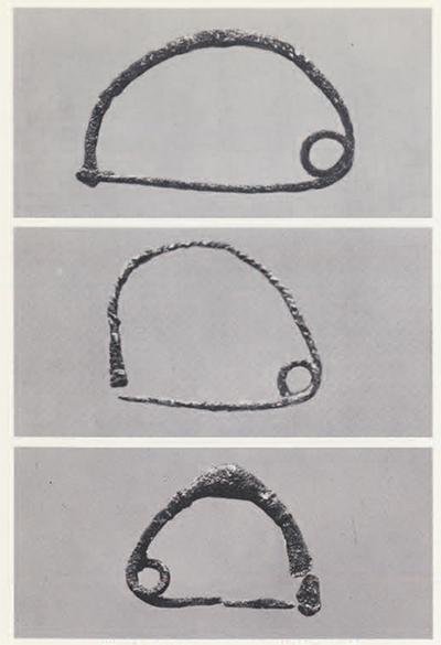 Two Sub-Mycenaen/ early Proto-Geometric bronze fibulae of the 11th-10th century B.C. All are from Vrokastro, Crete. Lengths: 9 cm.; 5.2 cm.; 5.4 cm.