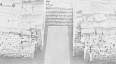 The Spillway of the dockyard excavated at Lothal, with grooves for sliding doors to retain the water