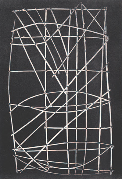The University Museums' meddo chart, collected by Robert Louis Stevenson. The straight sticks represent systems of swells rolling into the Marshall Islands. Shells tied to the framework represent islands of the group. The curved sticks depict refracted swells. Most of these kinds of charts represented only a few islands and their characteristic swell pattern, but this one covers nearly the entire Marshall group, 29 by 49 inches.
