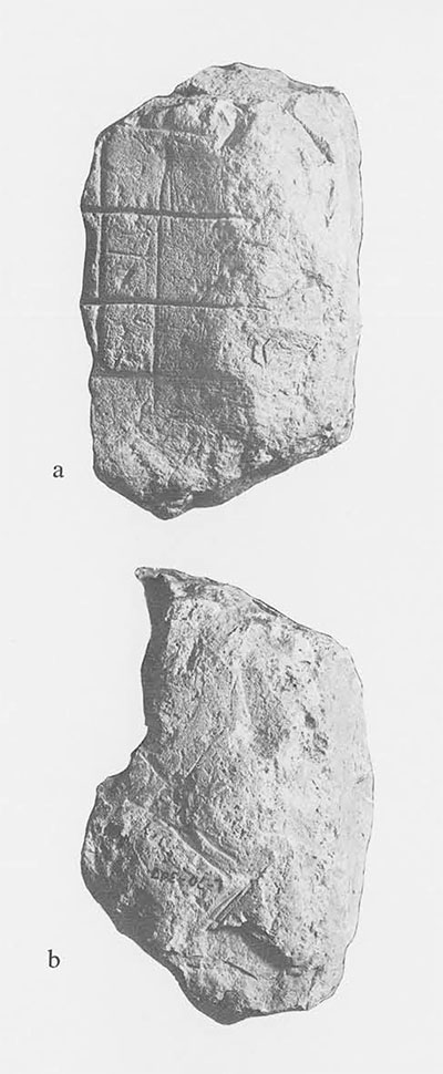 Fig. 7. Surfaces 1 and 2 (a,b) of Miscellaneous Sculptured Stone 20, Piedras Negras. Stone is from collapsed masonry of sweathouse Structure P-7 of its stairway. Note grid lines on Surface 1, zig-zag pattern on surface 2, Excavated 1935. Stone measures 19 x 10 x 11 cm. (ca. 7 1/2  x 4 x 4 1/4 inches).