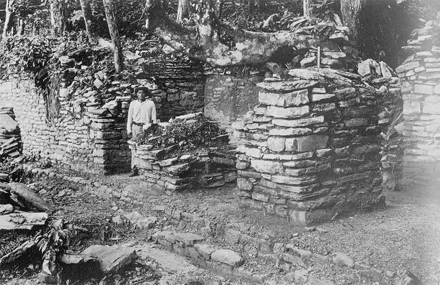 Fig. 1, Central room of Structure J-9 at Piedras Negras, which yielded Miscellaneous Sculptured Stones 8 and 21. Photograph taken after removing fallen masonry debris in room and immediately outside. Note extensive use of thin slabs with roughly worked exposed edges.