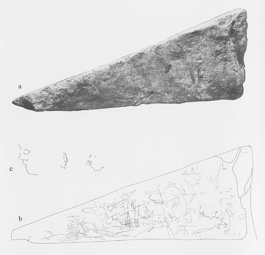 "Fig.3. Surface 2 of MSS-8: photograph (a) and drawings of selected details (b,c). Note three realistic profile human faces, ""doodle"" lines. Triangular surface measures 46 x 48x 19 cm. (ca. 18 x 19 x 7 1/2 inches)."