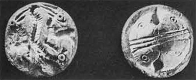 Circular seal, of steatite, from Bahrein, found at Lothal.