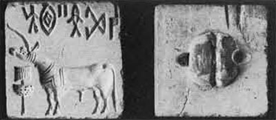 Typical Indus seal, of steatite, from Bahrein, found at Lothal.