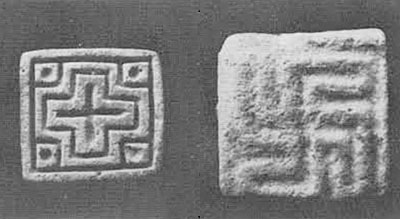 Stamp seals from the Late period levels. Such seals appear to be products of the waning years of the Indus civilization.