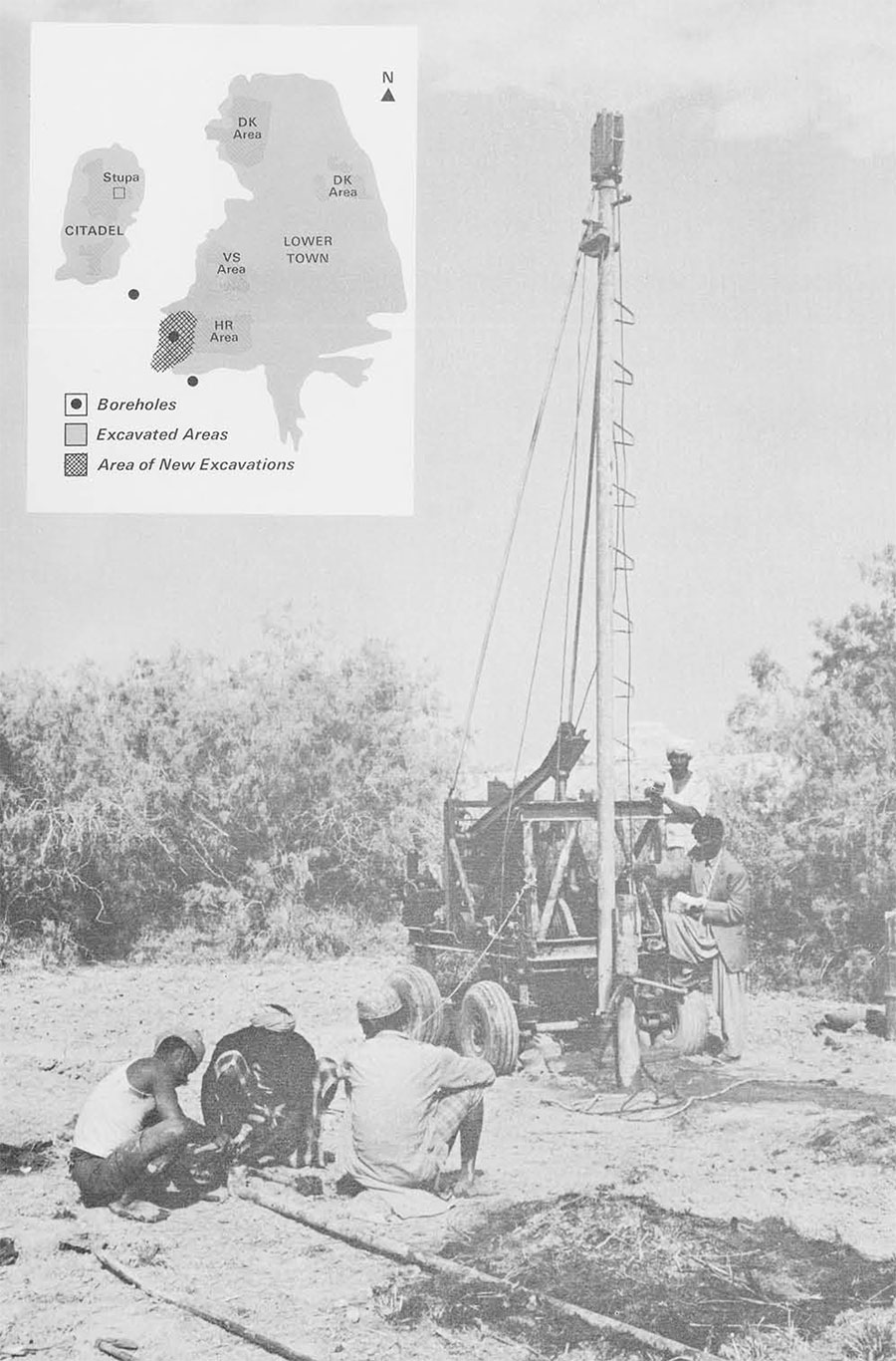 The boring rig in operation. Brick fragments, pottery sherds, bangles and ash were found to a depth of thirty-nine feet below the present plain level.