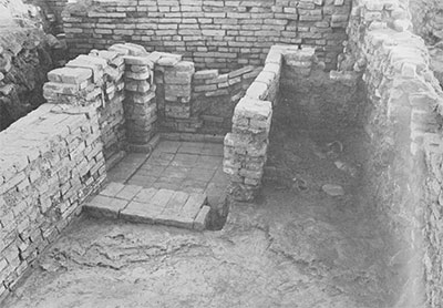 A brick wash or toilet cubicle and plastered floor of the Late period. This area was completely filled up with dirt and debris to make one of the platforms upon which the latest in habitants of the city built their squatter-type houses.