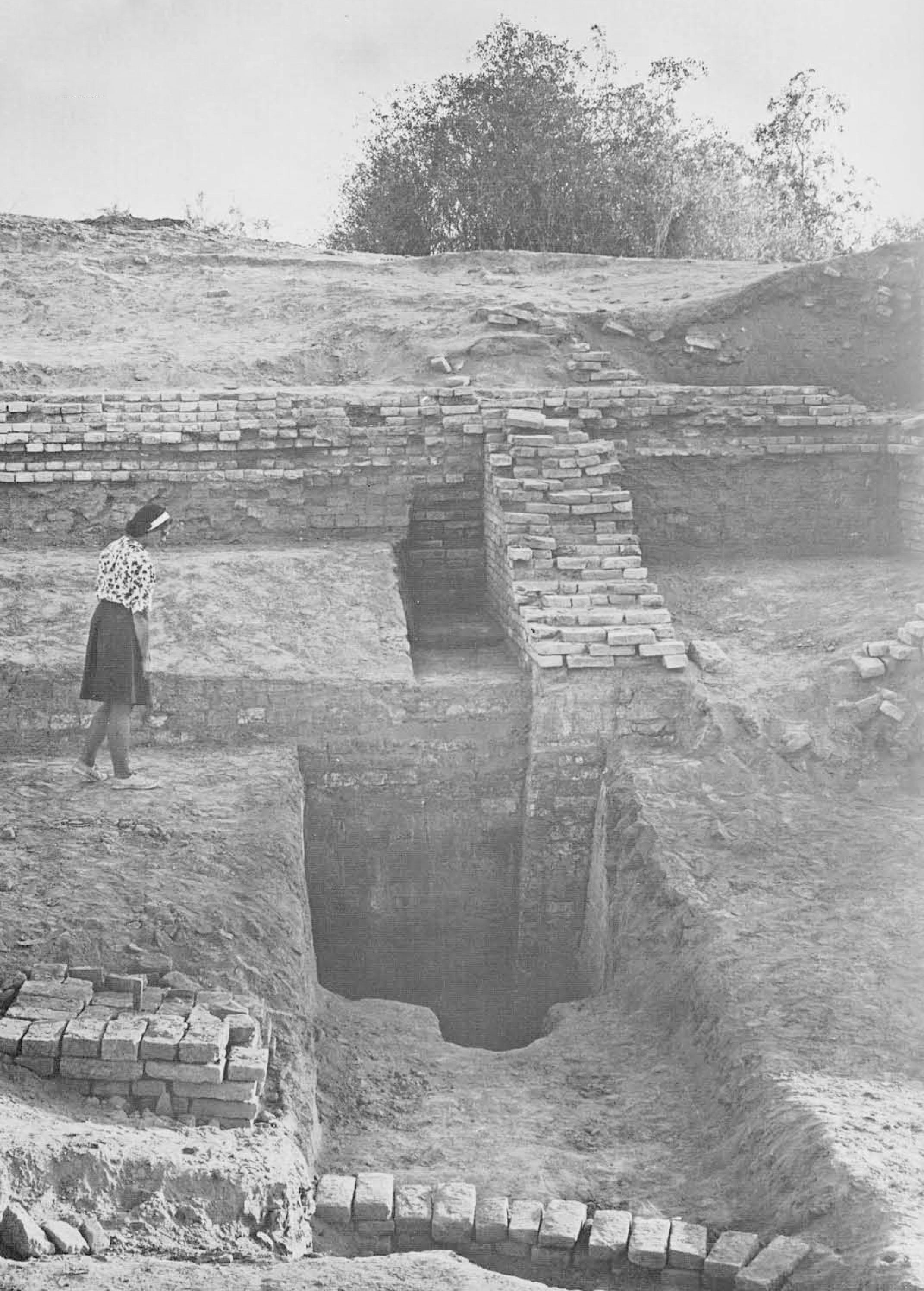 A gigantic solid mud-brick embankment was found along the edge of the HR mound. A pit was dug twenty-five into the brickwork without reaching the bottom of the structure.