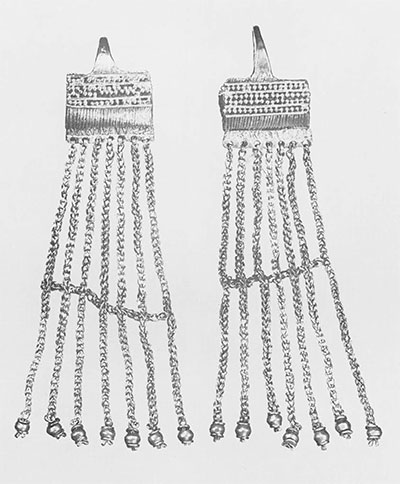 Pair of basket earrings, each about five inches long.
