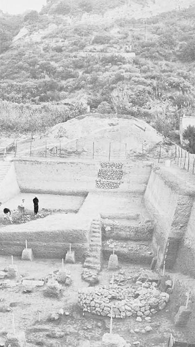 General view of he first stage of the transversal cut across the cemetery in the San Montano valley; in the background the slope on Monte di Vico, on top of which stood the acropolis.