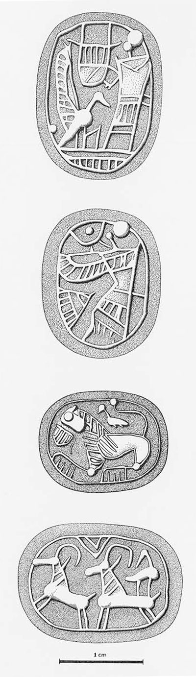 """Impressions from Near Eastern Seals of the """"Lyre-Player Group."""" From top to bottom: the Lyre Player, winged figure, lion, goats."""