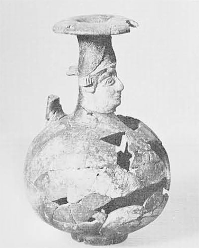 Perfume flask (aryballos) imported from North Syria to the Greek colony on Ischia.