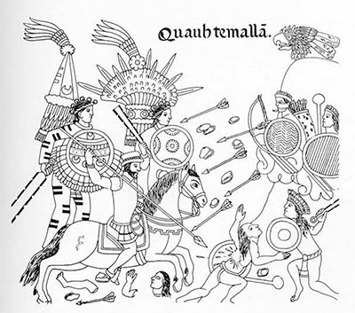 "The ""Lienzo of Tlaxcala"" which describes and here, portrays the battle of Alvarado (on horseback) against the Cakchiquels."