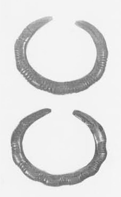A pair of massive bracelets or 'torques' of native copper from the Tlingit, their tips representing the raven. They have been ground and carved from bars of native metal. Phoebe A. Hearst Museum of Anthropology, University of California, Berkeley, Nos. 2-4695, 2-4696.