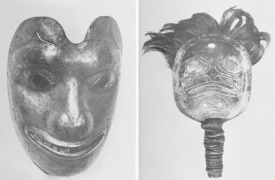 (Left) Tlingit mask of native copper which appears to have been remade from a piece of a much larger copper object. A shield-shaped object called a lina or 'chiefs copper.' It represents the brown bear and was shaped by minimal forging into a hollowed wooden form, with much of the detailed form and lines shaped by carving. It is set with abalone eyes, nostrils, and teeth. Although most of the masks of the Northwest Coast have no eye openings, they were actually worn in the great dramatic rituals of the winter ceremonies by performers who were in a state of trance, and played their parts without sight in the self-confident manner of hypnosis. A 'blind' mask in many exotic cultures is a real and usable mask, not a mere emblem. Height, 8'/2 inches. Museum of the American Indian, Heye Foundation N0. 20/6954. Haida mask – shaped rattle of smelter copper, made in the same manner as the two rattles above. The many tiny black spots which show in the photo are bubble holes from water vapor caught in the molten metal as it chilled. Width, 5 ¾ inches.  Museum of the American Indian, Heye Foundation No.1087.