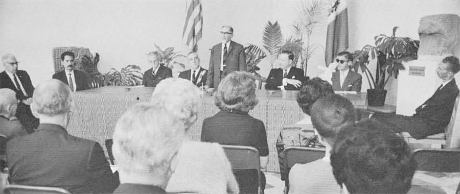 Dr. Carlos Martinez Duran, Minister of Eduction of Guatemala, speaking in December 1969 at the ceremony closing the field responsibility of the Tikal Project.