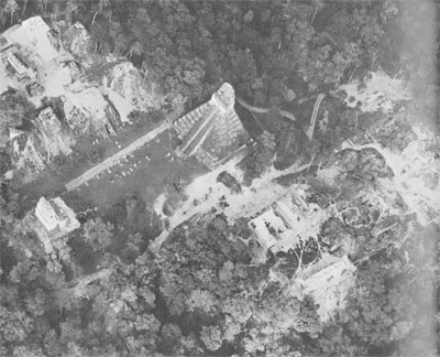 Aerial view of the very center of ancient Tikal, the focus of many of the Museum's excavations over the years.