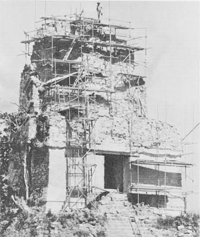 Temple I in 1960 with scaffolding erected to repair its building and roofcomb.