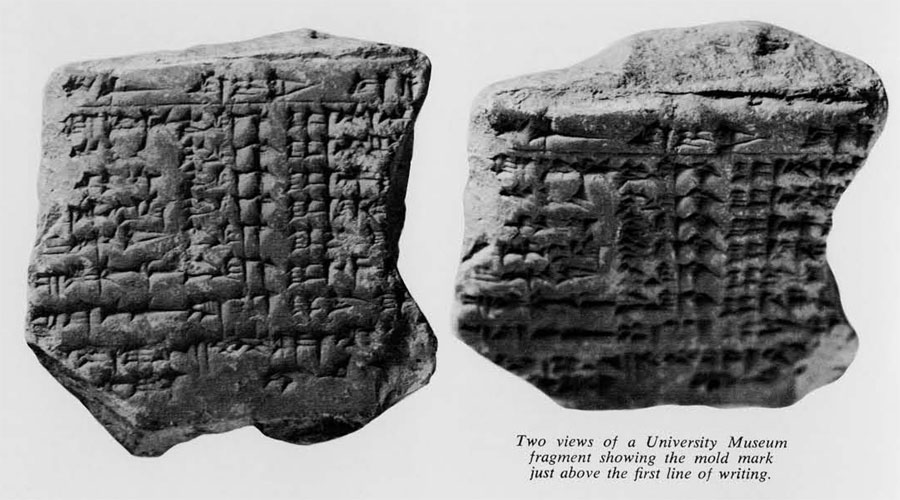 Two views of a University Museum fragment showing the mold mark just above the first line of writing.