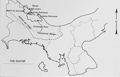 Map of Western Panama showing distribution of Guaymi and places mentioned in text.