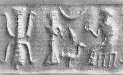 Fig. 4. Cylinder seal of Common, Old Elamite style, about 19th century B.C. Of bituminous stone. Height, 2.25 cm. Collection Foroughi.