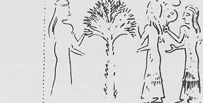 Drawing of a cylinder seal impression on a tablet from Assur. Late 14th century B.C.