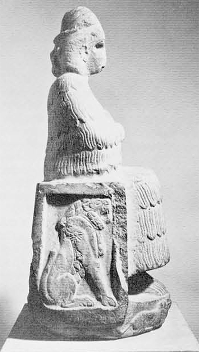 Fig. 1. White limestone statue of the Elamite goddess Narunte, dedicated by Puzur-Inshushinak, governor of Susa (later, ruler of Elam) about 2250 B.C. Height, 84+25 cm. In the Musée du Louvre.