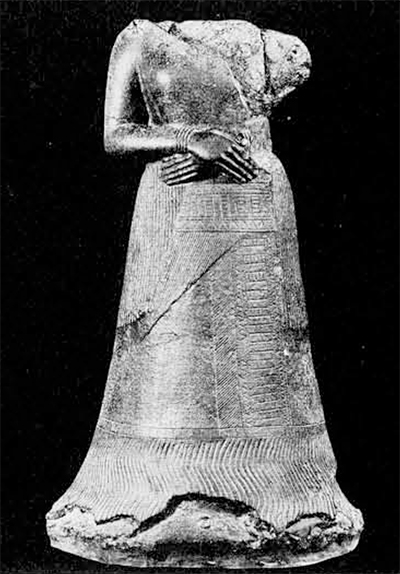 Fig. 2. Bronze statue of queen Napirasu, wife of the Elamite king Untash GAL, about 1260 B.C. Height, 1.29 meters. In the Musée du Louvre.