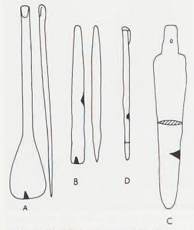 Fig. 1. Copper/Bronze objects from Tepe Yahya, periods V (A, B, D) and IVB (C).
