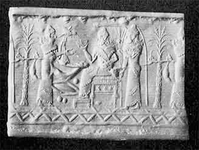 Fig. 9. Cylinder seal of Iranian style, Probably Elamite, 14th century B.C. Of sard. Height, 3.36 cm. Collection Foroughi.