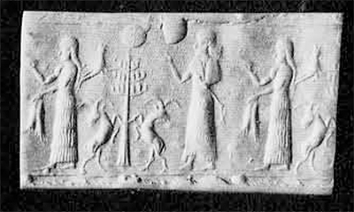 Fig. 10. Cylinder seal of Iranian style probably Elamite, 14th century B.C. of blue chalcedony. Height, 3 cm. Collection Annavian.