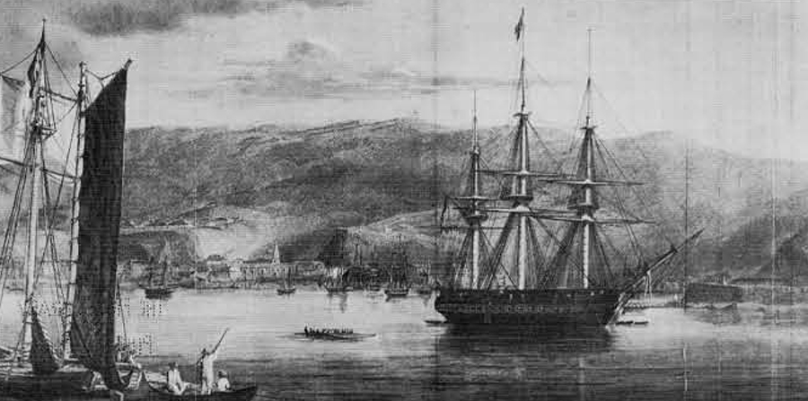 U. S. Frigate Potomac at anchor in the harbor of Valparaiso during her circumnavigation of the globe during the years 1831-34.