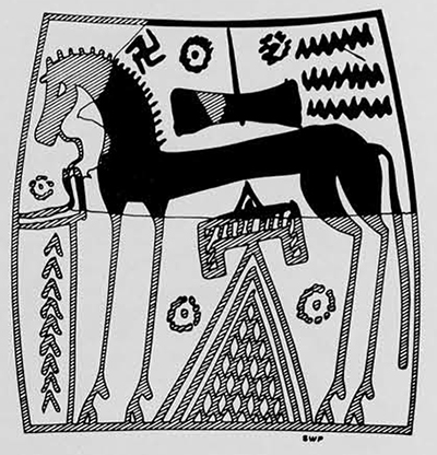 Horse panel from the local Geometric krater: Detailed drawing, restored with virtual certainty from the matching one on the opposite side of the vase and the many other fragmentary examples of similar design from these excavations.