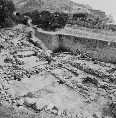 The Mezzavia site, looking north, with Monte Vico in the background. On the left and center is the middle terrace with Structures I and III (II has already been removed). To the right is the lower terrace with Structure IV, all of the eighth century B.C.