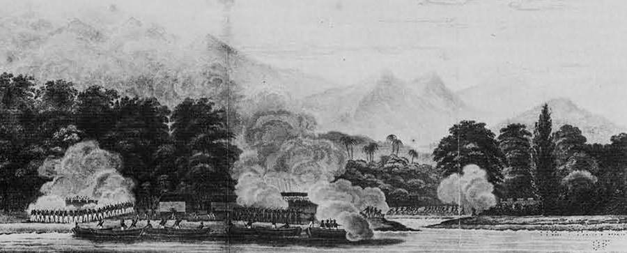 Action of Quallah Battoo as seen from the Potomac at anchor in the offing, in the offing, J. Downes, Esq., Commander, Feb. 5, 1832.