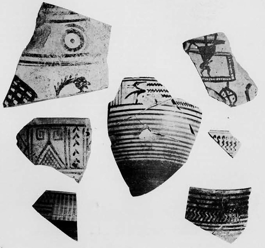 """A selection of eighth century sherds. Clockwise from the upper left: Local amphora fragment with warrior's head; crudely drawn charioteer; """"Protocorinthian kotyle"""" rim; """"Thapsos Cup"""" fragment; original Corinthian kotyle from which the local cup; Corinthian kotyle with Geometric water bird."""