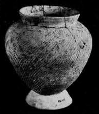 Earthenware vessel with cord marking found in early to late levels at Nok Nok Tha. This shape is not commonly found as grave furniture with early burial but was used for cremation burials in the late levels.