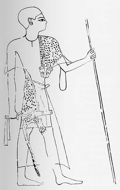 Facsimile drawing of a portrait of the High Priest Bekenhons I in the guise of a sem-priest, from his tomb