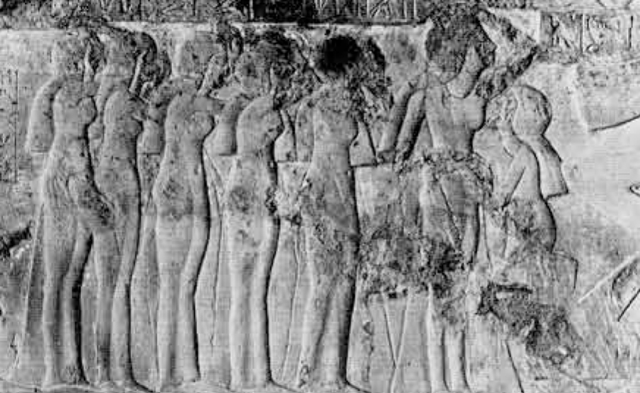 Limestone relief decoration in the tomb of Bebwenenef, after leaning. From the recently discovered representation of the funeral procession of this High Priest: his bereaved widow, Takhat, is supported on the arms of her granddaughter (facing left) and followed by five of her daughters in mourning. The surface of the scene was originally thinly plastered and painted.