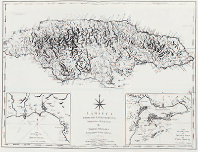 This 18th century map of Jamaica show the inaccessible location of the Maroon villages—all in the interior mountains.