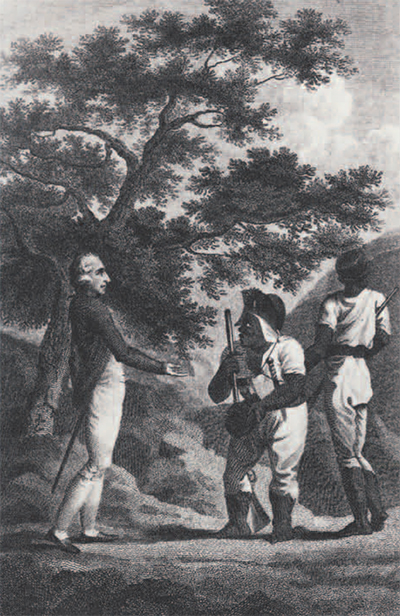 Cudjoe and a white officer exchanging hats as a gesture of friendship. Cudjoe was initially very suspicious of the government's overtures of peace, for he did not believe the English would would keep their word. It was only after his Maroon settlement was burned down that he agreed to come to terms. Even after the treaty, both sides remained wary, and perhaps because of that they often made a point of stressing their friendly relations.
