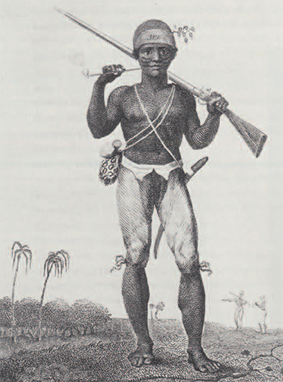 """Note the decorative scarification on this ranger of Surinam. He was born in Africa, enslaved, and shipped to the New World. There he became a free soldier and hunted Maroons for the Whites. Such rangers were used against Maroons in Jamaica also. They were considered very effective when they could be relied upon, but were often suspect of favoring the """"enemy."""""""