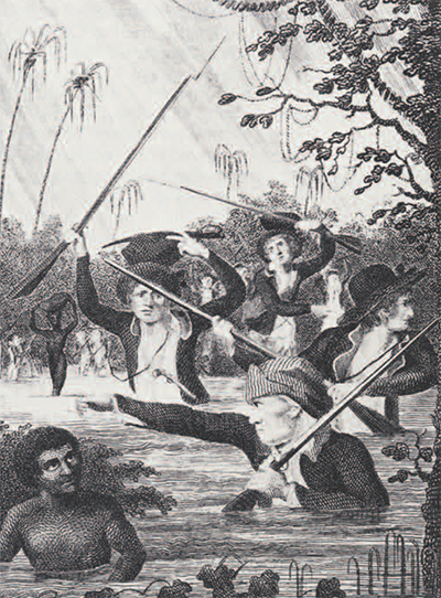 These soldiers hunting Maroons in Surinam did not have to face the hardships of the Jamaica mountains, but the swamps posed another peril. They were the breeding ground of mosquitos and yellow fever. And whether in the swamps or in the mountain rains and dew, there was always the problem of keeping one's powder dry for those rare occasions on which one actually managed to encounter Maroons. Note the Blacks who were used as soldiers and baggage carriers. Whites were in the minority on most expeditions.