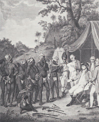This version of the signing of the treaty probably portrays the Maroons as underdressed. They carried away clothing and cloth, as well as other supplies, in their plantation raids. Cudjoe was describe as wearing a full suit of clothes, as shown in the picture on page 21. The white officers, on the other hand, are accurately portrayed as overdressed. Their heavy clothes, consisting of many layers, were suitable for England but unhealthy in semi-tropical climate.