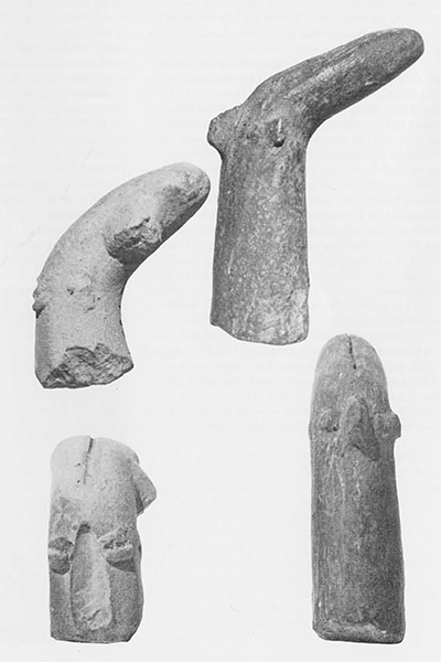 Tell Ramad, head of figurine with conical headdress.