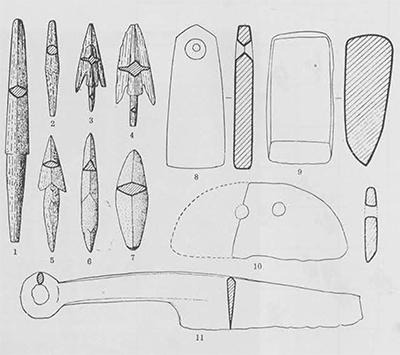Nos. 1, 2, 5, are bone arrowheads; 3, 4, bronze arrowheads; 6, 7, stone arrowheads; 8, a whetstone with a hole; 9, a stone adze; 10, a stone knife with two holes; 11, a bronze knife.